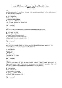 Seviye II Muhasebe ve Finansal Raporlama Mayıs 2015