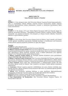 Hitit Üniversitesi Bilimsel Araştırma Projeleri Uygulama Yönergesi