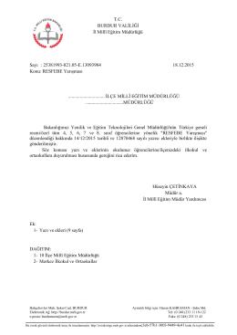 T.C. BURDUR VALİLİĞİ İl Millî Eğitim Müdürlüğü Sayı