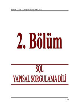 Bölüm 2: SQL – Yapısal Sorgulama Dili -11-