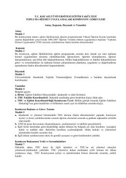 t.c. kocaeli üniversitesi eğitim fakültesi topluma hizmet uygulamaları