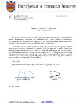 Sayı : YAZI.İŞL.2015/314 30.04.2015