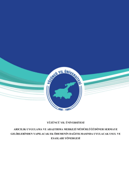Y.Y.Ü. Arıcılık Merkez Döner Sermaye Yönergesi (Senato 2015-19-10)