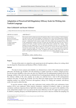 Adaptation of Perceived Self-Regulatory Efficacy Scale for Writing