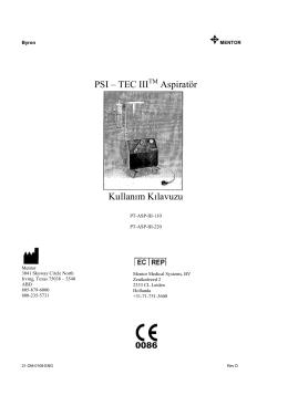 PSI – TEC III Aspiratör Kullanım Kılavuzu