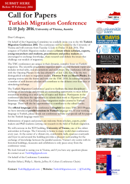 TMC 2016 Call for Papers - Turkish Migration Conference 2016