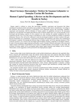 Beşeri Sermaye Harcamaları: Türkiye`de Yaşanan Gelişmeler ve
