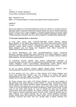 TC GÜMRÜK VE TİCARET BAKANLIĞI Avrupa Birliği ve Dış İlişkiler