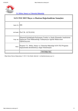SANTEZ 2015 Mayıs ve Haziran Değerlendirme Sonuçları