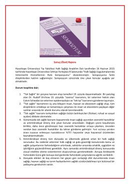 Sempozyum Sonuç Bildirgesi - Türk Veteriner Hekimleri Birliği