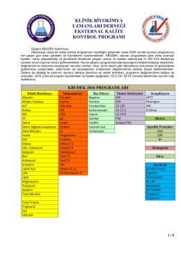 KBUDEK Başvuru Formu 2016 - KBUDEK Eksternal Kalite Kontrol