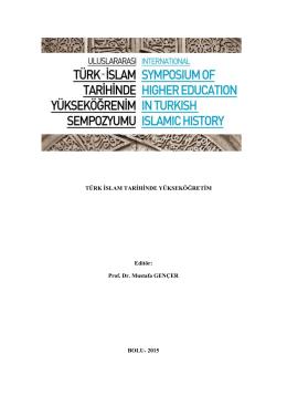 türk islam tarihinde yükseköğretim-sempozyum kitabı