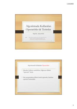 Algoritmada Kullanılan Operatörler & Terimler