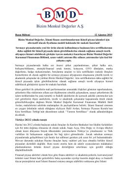 12.08.2015 / Sukuk Makalesinin Basın Bülteni