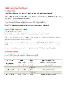 iyte ydyo erasmus sınavı ıztech sfl erasmus exam