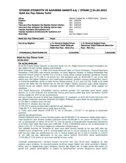 Özel Durum Açıklama Formu - 01.04.2015