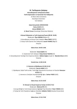 program - Hacettepe Üniversitesi Tarih Bölümü