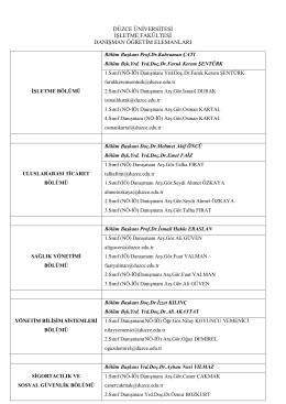 danışman listesi - Düzce Üniversitesi İşletme Fakültesi