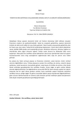 Türkiye`de Kira Sertifikası Uygulamasının Vergisel Boyutu ile Birlikte