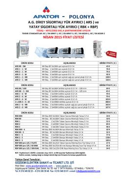 nisan 2015 fiyat listesi - Gözdem elektrik sanayi ve ticaret ltd.Şti.