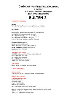 BÜLTEN-2- - Türkiye Oryantiring Federasyonu