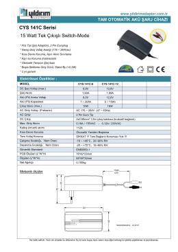 CYS 141C Serisi 15 Watt Tek Çıkışlı Switch-Mode