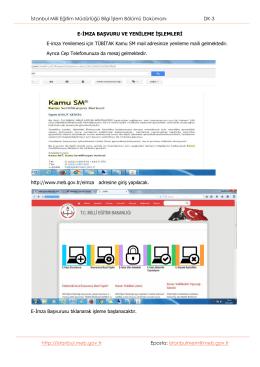 İstanbul Milli Eğitim Müdürlüğü Bilgi İşlem Bölümü Dokümanı DK