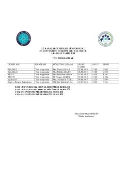 2014-2015 YAZ OKULU ARA SINAV PROG.