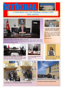Sayı 1 - 11 Nisan Kemal Kılıç Çok Programlı Lisesi