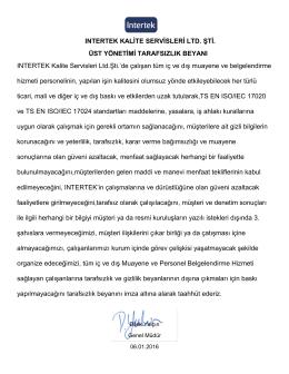 INTERTEK KALİTE SERVİSLERİ LTD. ŞTİ. ÜST YÖNETİMİ