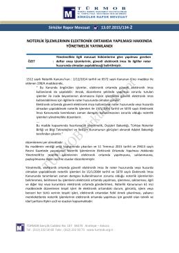 Temmuz 14, 2015 TÜRMOB Sirküler Rapor 134