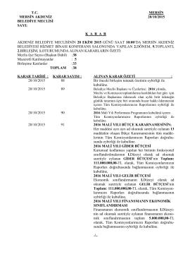 20 Ekim 2015 Tarihli Meclis Karar Özeti
