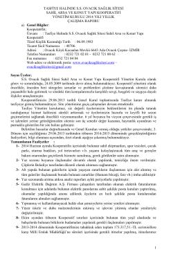 Faliyet Raporu - Ovacık Sağlık Sitesi