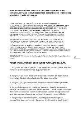 2016 YILINDA DÜZENLENECEK ULUSLARARASI MOLECULAR