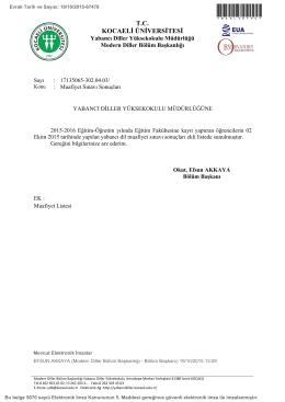 Muafiyet Sınavı Sonuçları - Eğitim Fakültesi, Kocaeli Üniversitesi