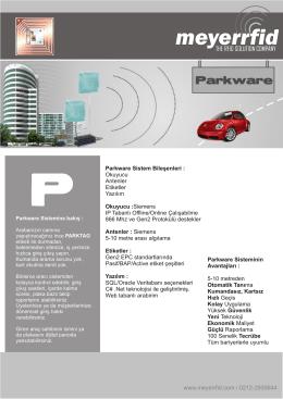 Parkware Sistem Bileşenleri : Okuyucu Antenler Etiketler Yazılım