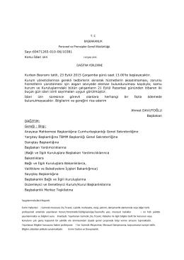 | T. C BAŞBAKANLIK Personel ve Prens pler Genel Müdürlüğü Sayı