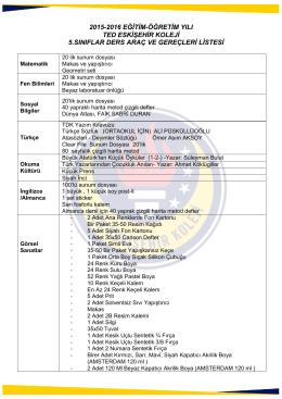 2015-2016 eğitim-öğretim yılı ted eskişehir koleji 5.sınıflar ders araç
