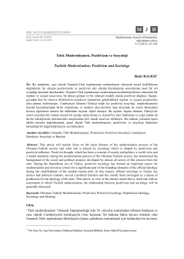 Türk Modernleşmesi, Pozitivizm ve Sosyoloji Turkish Modernization