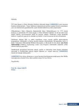 Sayı 1, 2015 GiDB DERGi GIDB-