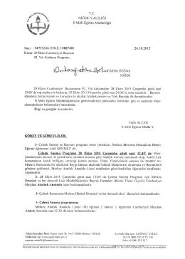 29 Ekim Cumhuriyet Bayramı 92. Y - Niğde İl Milli Eğitim Müdürlüğü