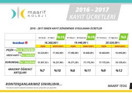2016 - 2017 KAYIT ÜCRETLERİ