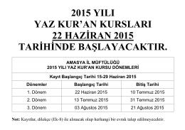 2015 YILI YAZ KUR`AN KURSLARI 22 HAZİRAN 2015 TARİHİNDE