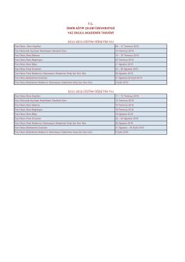 2015-2016 Eğitim-Öğretim Yaz Okulu Akademik Takvimi