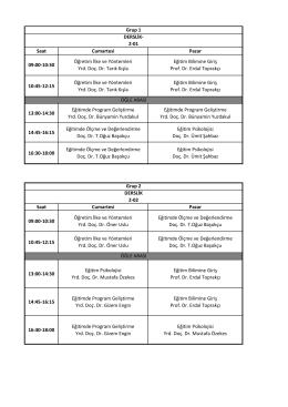 Saat Cumartesi Pazar 09:00-10:30 Öğretim İlke ve Yöntemleri Yrd