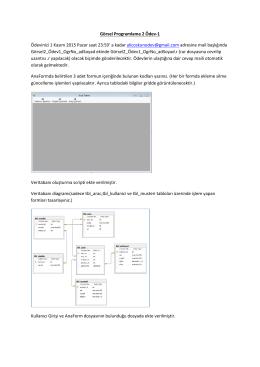 Görsel Programlama 2 Ödev-1 Ödevinizi 1 Kasım 2015 Pazar saat