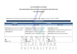 10 OCAK 2016 PAZAR - Celal Bayar Üniversitesi