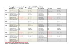 Pedagojik Formasyon Vize Programı (17 Ocak 2016 Pazar Günü)