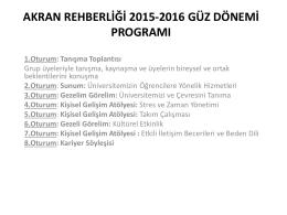 akran rehberliği 2015-2016 güz dönemi programı