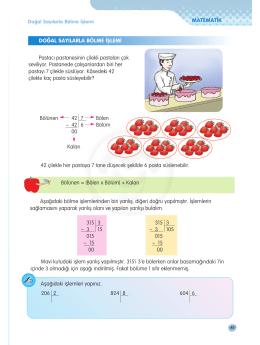 4.Sınıf Matematik Doğal Sayılarla Bölme İşlemi - E